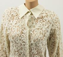 Hermès Bluse Baumwolle ecru