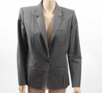 Hermès Jacket Wolle grau braun