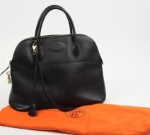 Hermès Bolide Leder schwarz