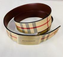 Burberry Gürtel reversible Leder Metall Tartin beige rot schwarz gold