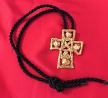 CHRISTIAN LACROIX HALSKETTE KREUZ KORDEL SCHWARZ GOLD