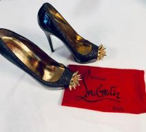 CHRISTIAN LOUBOUTIN PUMPS LACKLEDER SCHWARZ GOLD
