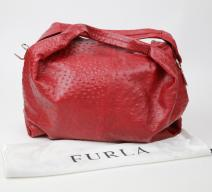 Furla Hobo Bag Straussenleder-Optik rot