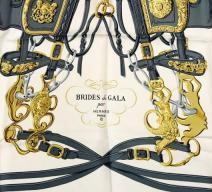 HERMÈS FOULARD 'BRIDES DE GALA' SEIDE BLAU ECRU