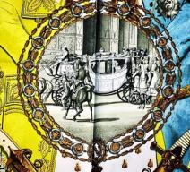 HERMÈS Foulard Napoléon Ledoux Vintage hellblau 1963