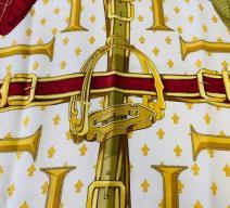 HERMÈS FOULARD 'SELLE A HOUSSE' VINTAGE CHRISTIAN VAUZELLES SEIDE BORDEAUX WEISS GOLD