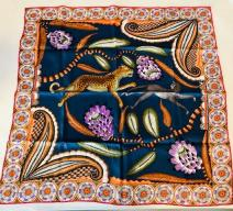 HERMÈS FOULARD 'THE SAVANNA DANCE' BY ARDMORE ARTISTS BLAU BUNT