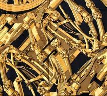 HERMÈS SEIDENFOULARD 'RYTHMES' SCHWARZ GOLD