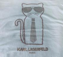 Karl Lagerfeld T-Shirt Katze Baumwolle weiss rosagold