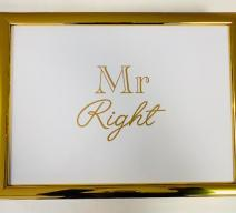 LAPTRAY KNIETABLETT 'MR RIGHT' STOFF WEISS GOLD