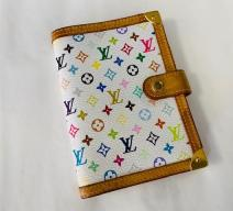 LOUIS VUITTON AGENDA MULTI COLOR VINTAGE WEISS BUNT GOLD