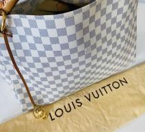 LOUIS VUITTON ARTSY MM DAMIER AZUR CANVAS LEDER ECRU GRAU BRAUN