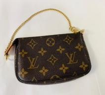 LOUIS VUITTON POCHETTE MINI MONOGRAM VINTAGE CANVAS LEDER BRAUN