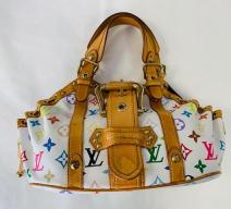 LOUIS VUITTON THEDA MULTI COLOR VINTAGE CANVAS LEDER WEISS BUNT GOLD
