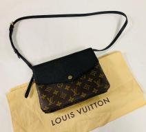LOUIS VUITTON TWICE SCHULTERTASCHE MONOGRAM CANVAS LEDER BRAUN SCHWARZ