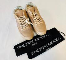 PHILIPPE MODEL SNEAKERS LEDER BEIGE SILBER BUNT