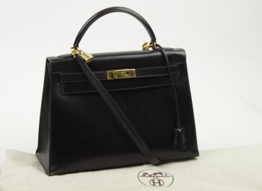 Hermès Kelly 32 Kalbsleder schwarz
