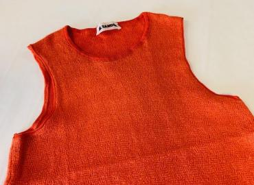 JIL SANDER TOP ORANGE SEIDE KASCHMIR