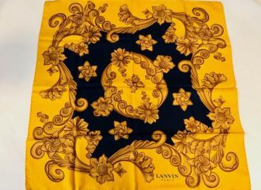 LANVIN FOULARD SEIDE GELB BLAU GOLD