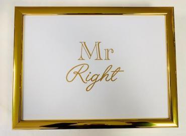 LAPTRAY KNIETABLETT 'MR RIGHT' STOFF WEISS GOLD