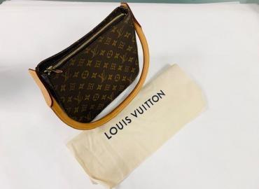 LOUIS VUITTON LOOPING MONOGRAM VINTAGE CANVAS LEDER BRAUN GOLD