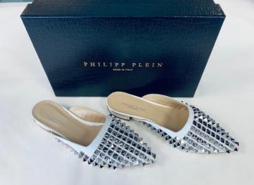 PHILIPP PLEIN MULES LEDER METALL WEISS SILBER